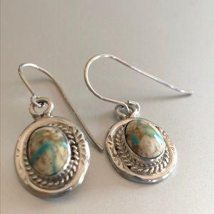 Sterling Navajo oval earrings Turquoise